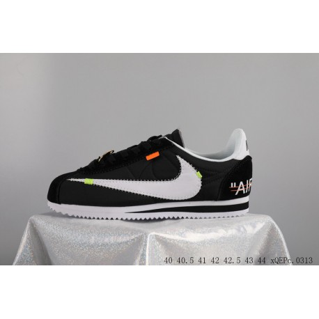 low cost 4118f 86e98 Creative Bespoke Virgil Abloh Designer Crossover X Nike Classic Cortez  Leather Cortez Vintage First Leather Jogging