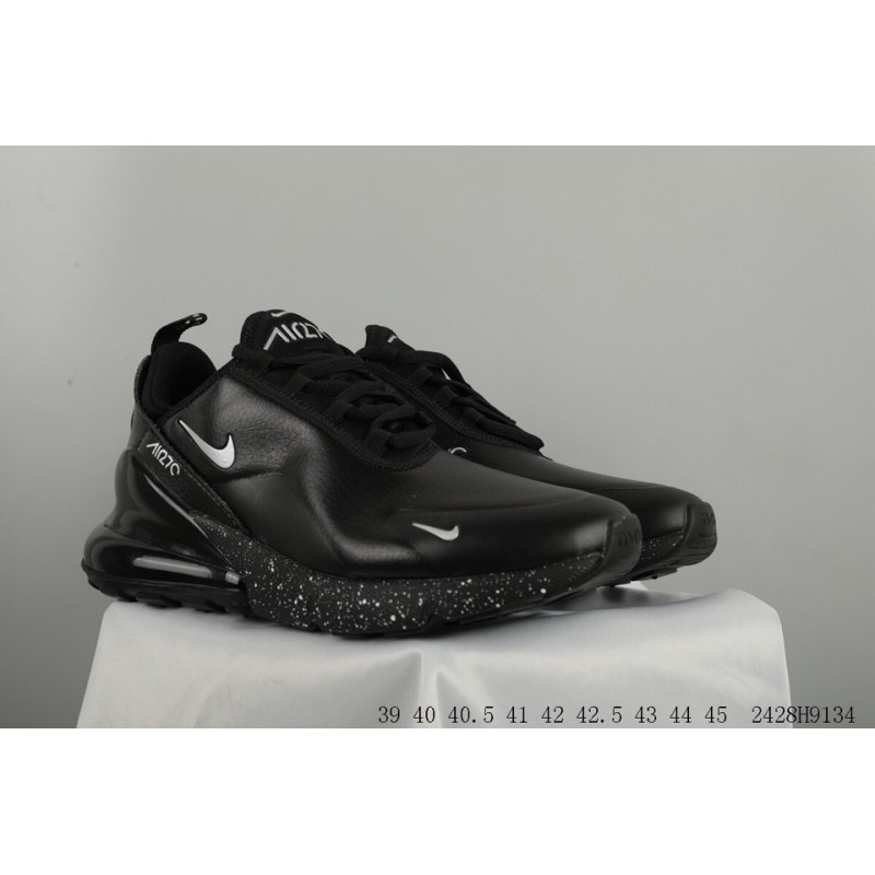 9ac9de46cae1a ... Nike Air Max 270 Seat Half Palm Air Jogging Shoes Leather Upper Whole  Black Original Sole