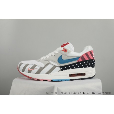 d77d19fc0ee Nike Air Max 1 X Parra Rainbow Park Crossover Contrast Stitching Vintage  Racing Shoes 2432h8130