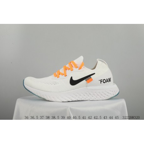 d91b6a3f2828 Off White X Nike Epic React Flyknit Rhyth Crossover Flyknit Super  Lightweight Rebound Jogging Shoes