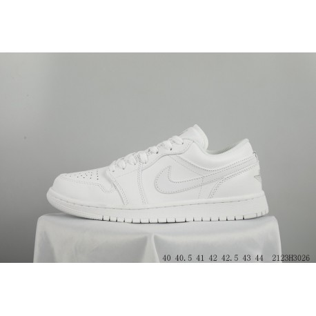 0c3ce4073325 FSR Jordan Low AIR Jordan 1 Triple White Mens Leather Sportshoes 2123h3026