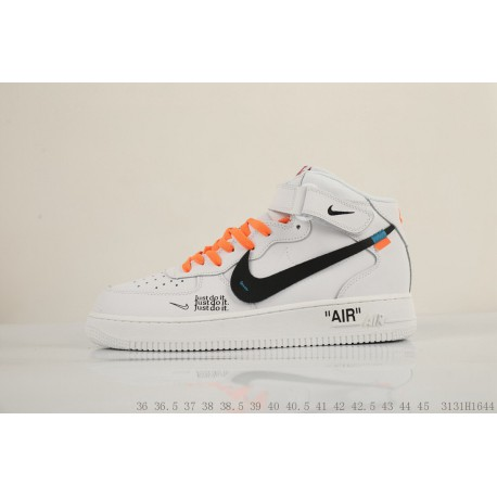 Nike Air Force 1 MID Retro White Just Do It Deconstruction Splicing Original  Box Original Sole 234e7d7c0